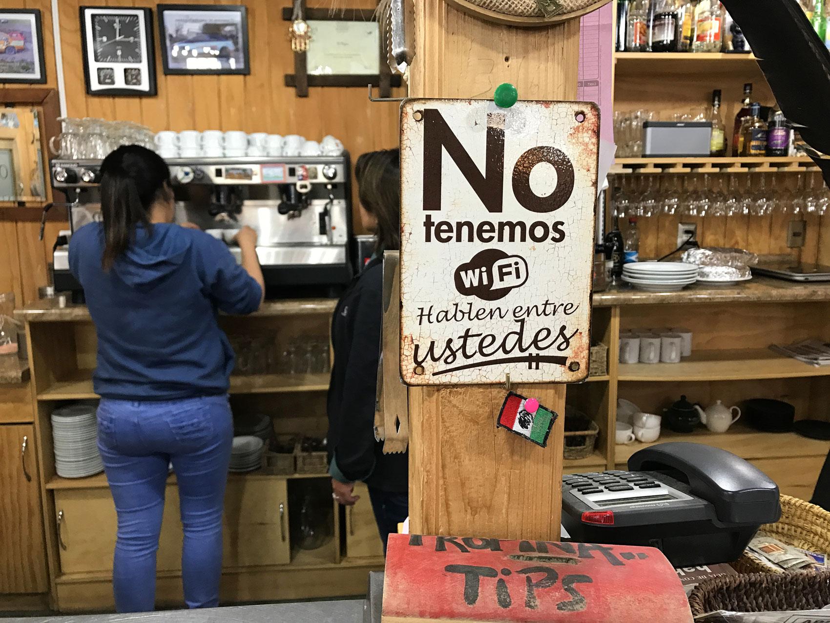 Cafe in Cerro Castillo Sign Chile