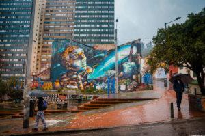 Graffiti of a man with slingshot - Bogotá