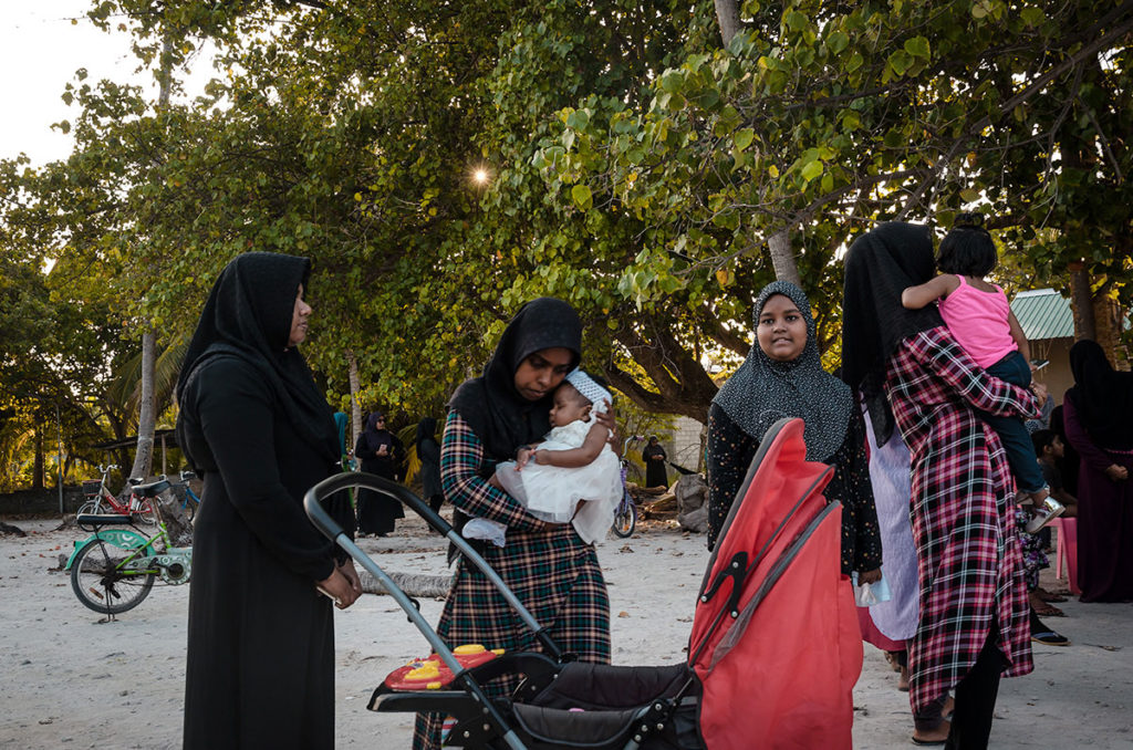 Group of Islam women with their kids - Maldives