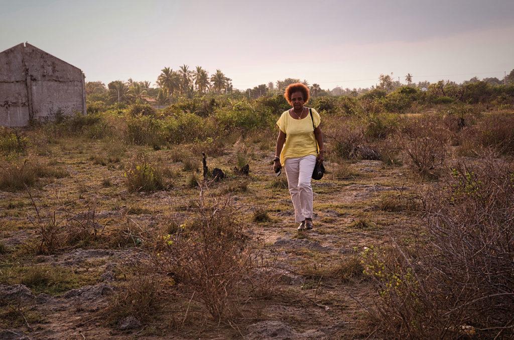 Khadija walking through the marshes - Point Pedro