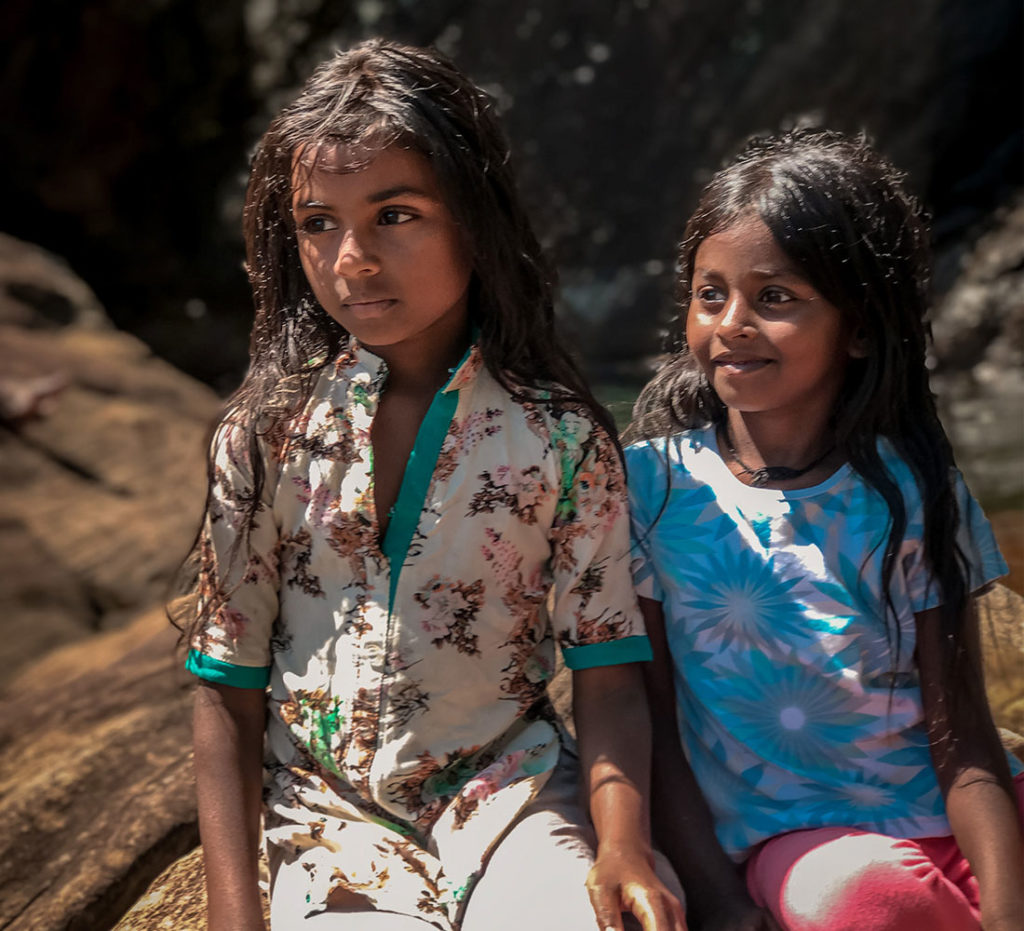 Two Sri Lankan sisters by the falls - Kandy
