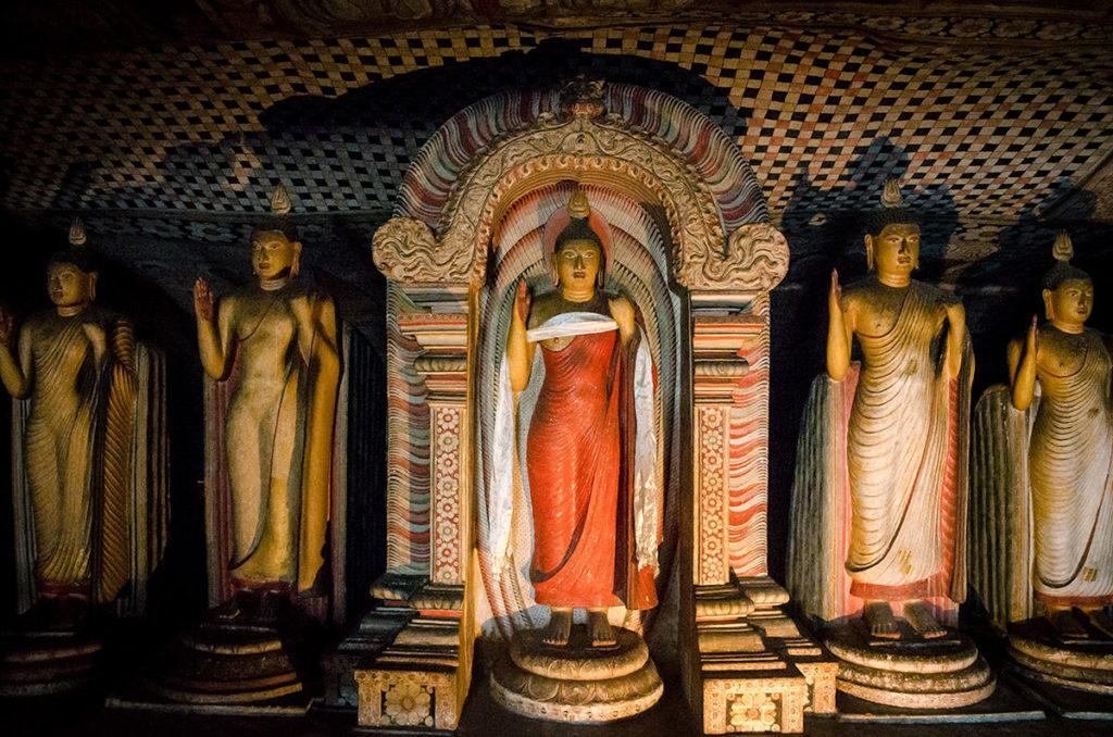 Standing Buddha statues - Dambulla Cave