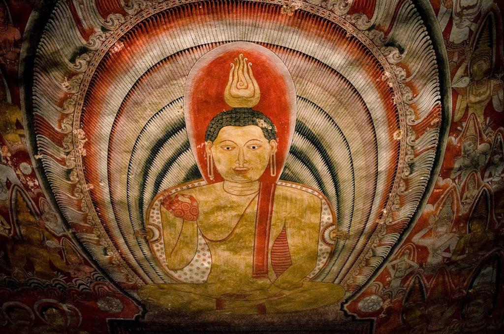 Intricate Buddha painting - Dambulla Cave