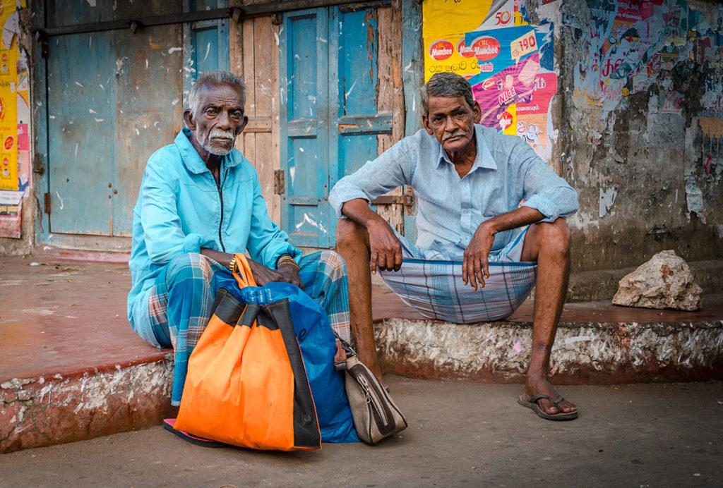 Two elderly men sitting by the street - Jaffna Peninsula