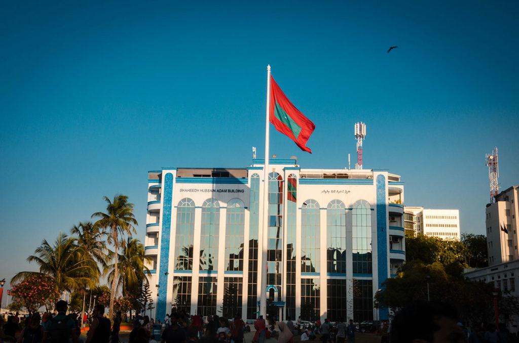 Large Maldivian flag in the Republic Square - Malé