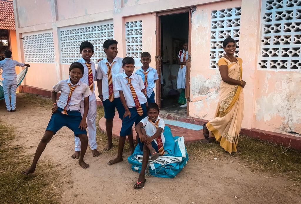 Barefoot school kids - Jaffna City