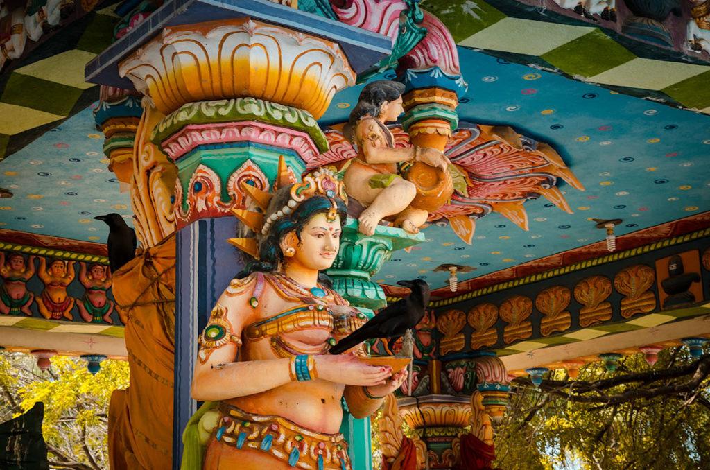 Crow on a temple statue - Jaffna