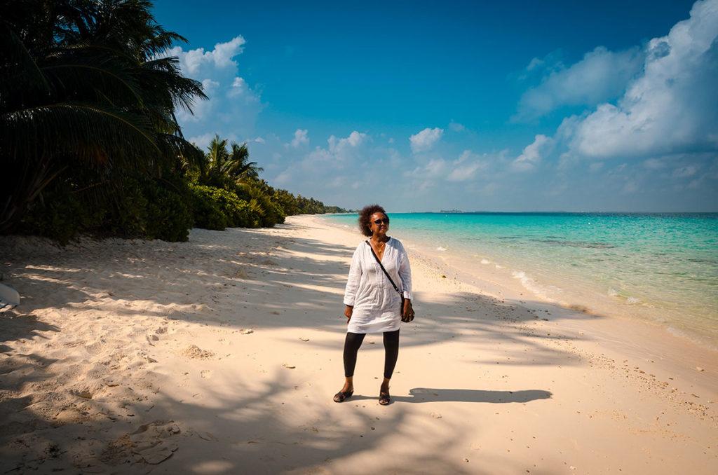 Khadija on a beach - Maldives