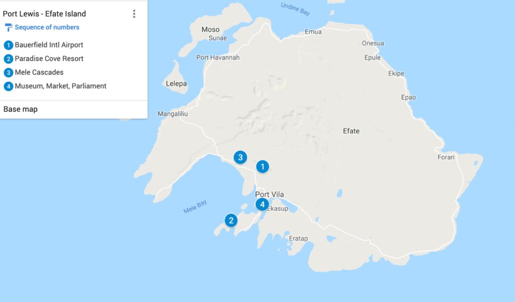 Port Vila, Efate Island Map