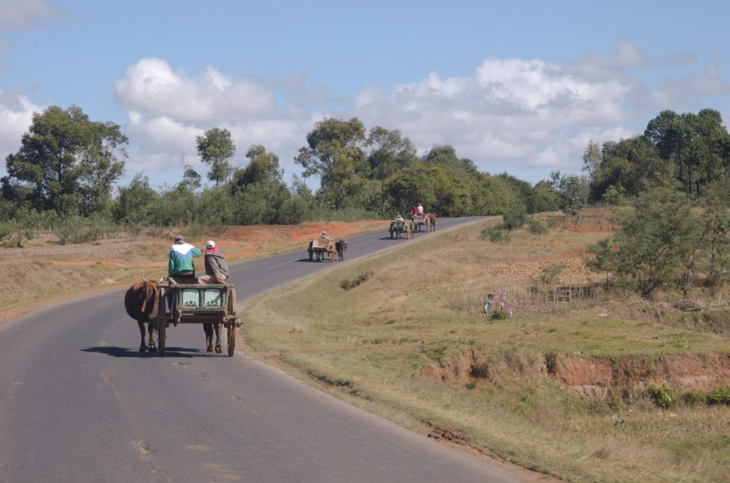 Wagons on RN7 in Madagascar
