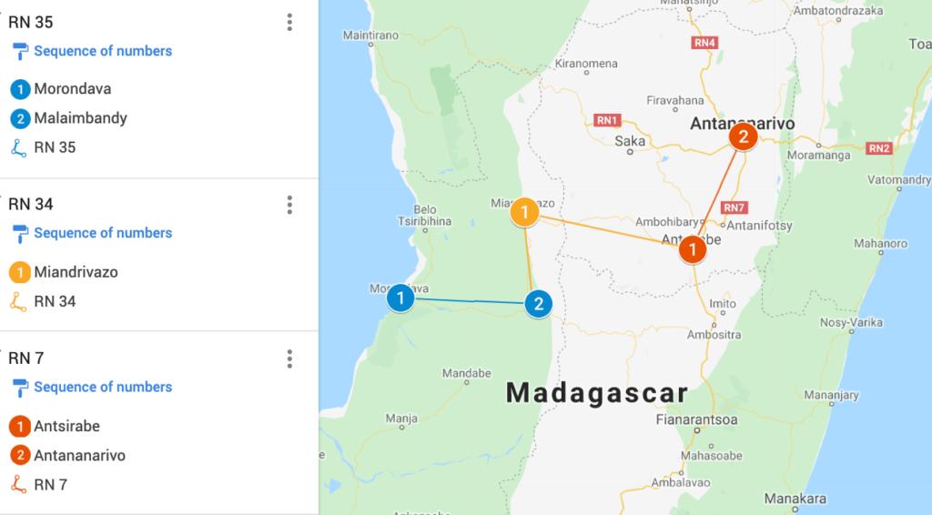 Morondova to Antananarivo Map