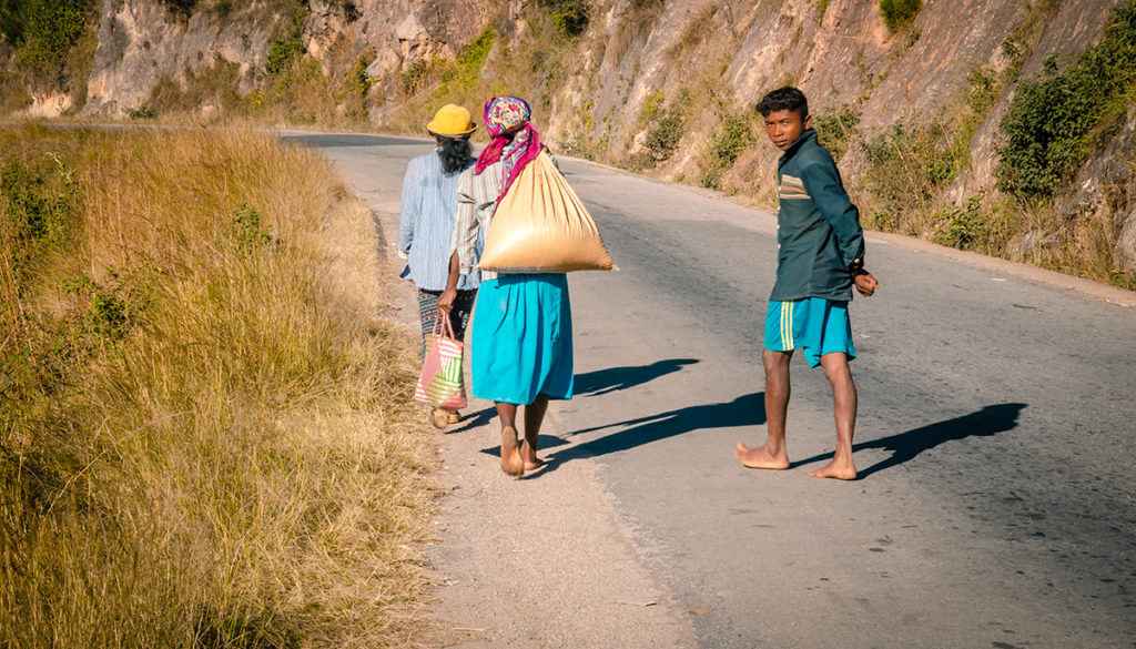 People on RN7 in Madagascar