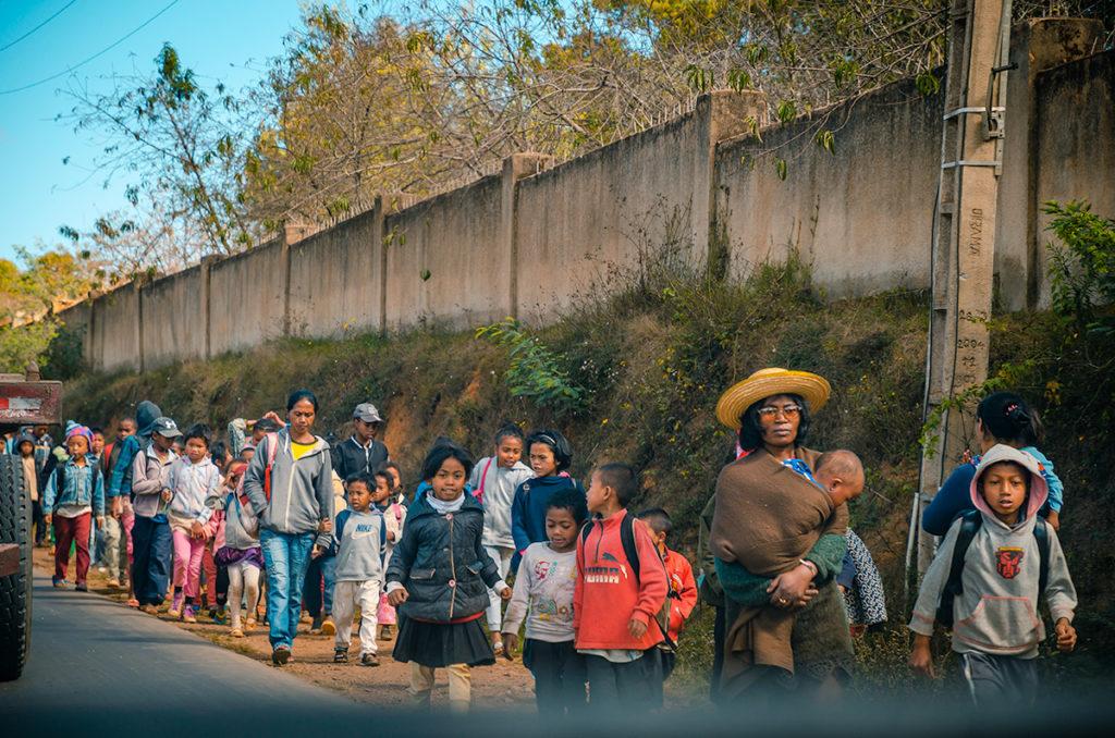 Children in Madagascar heading to school
