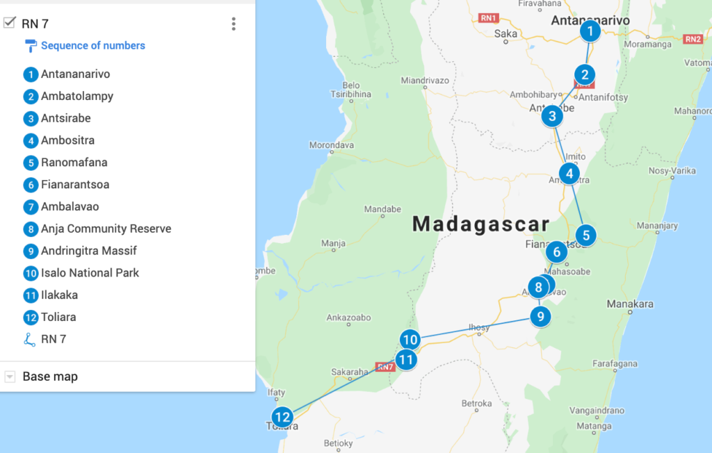 Madagascar RN 7 Map