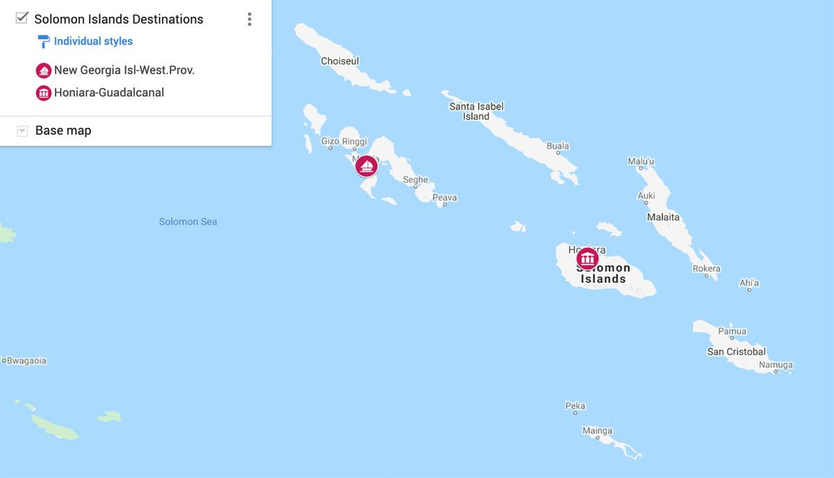 Solomon Islands Destinations Map