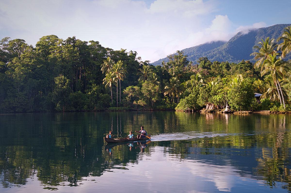 Children Going to School in Canoe in the Solomon Islands