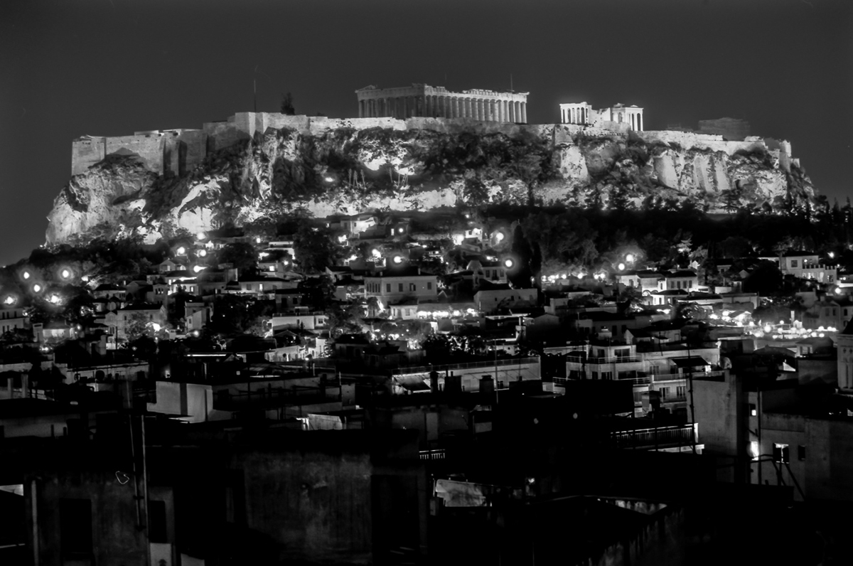 Athens Acropolis and lights at night