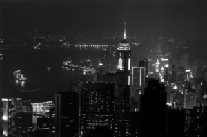 Hong Kong skyline and city lights at night