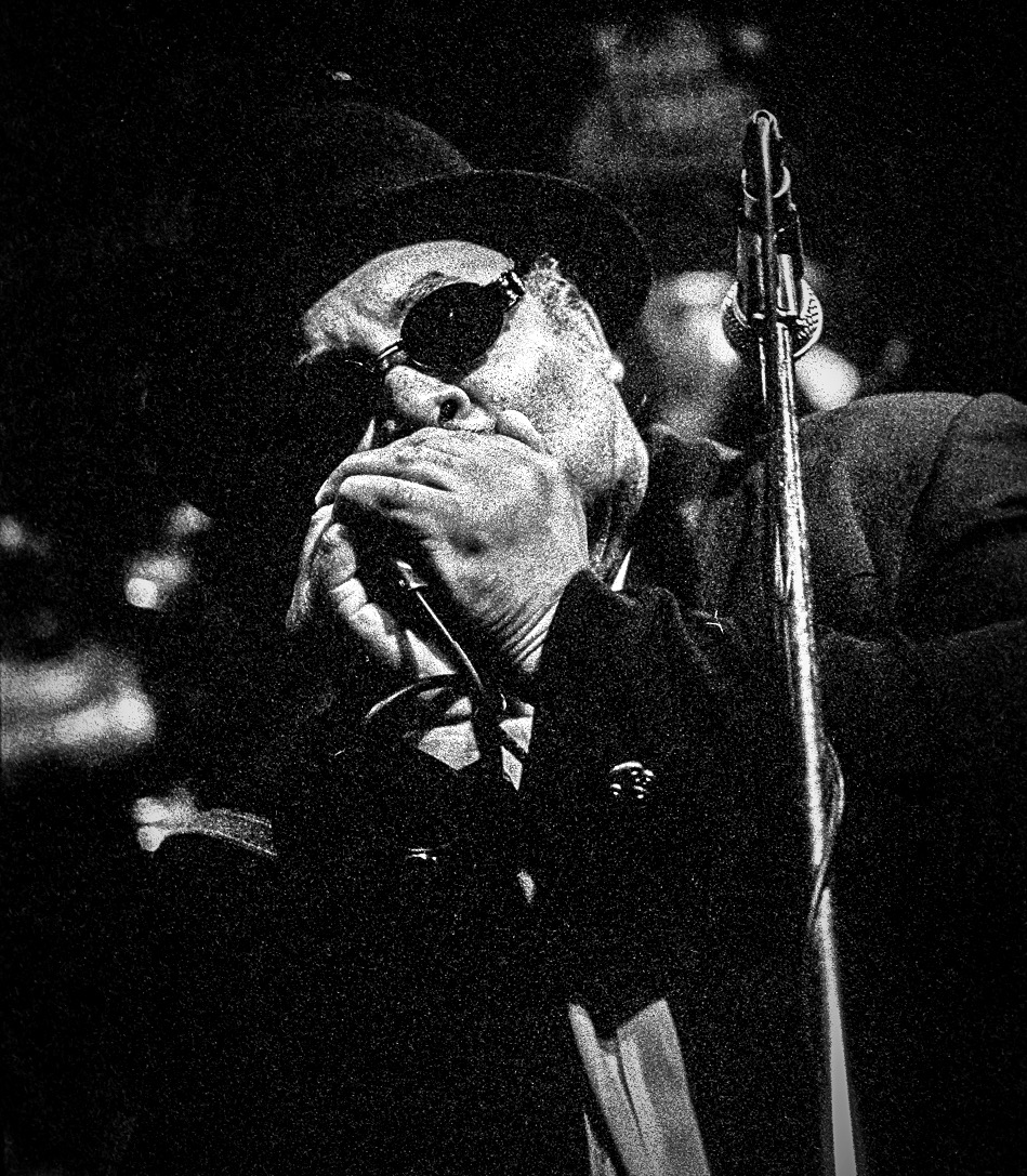Harmonica player playing blues in a bar in Memphis, Tennessee