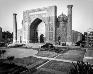 The Registan in Samarkand with people in front