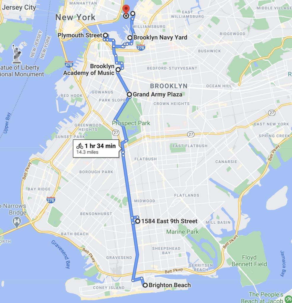 Brighton Beach to Williamsburg Bridge Bike Route Map