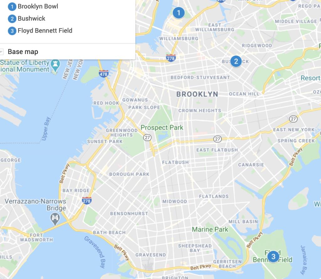 Brooklyn Destinations Map