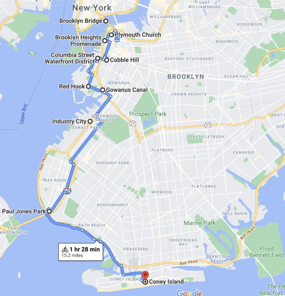 Brooklyn Bridge to Coney Island Bike Route Map